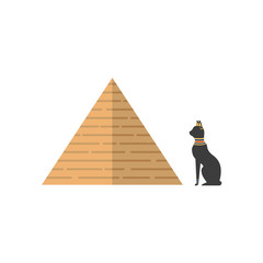 vector flat big egypt pyramid and sacred black cat icon. Ancient stone building - shrine or tomb of pharaohs. Isolated illustration on a white background.
