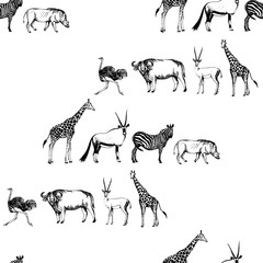 Seamless pattern of hand drawn sketch style African animals. Vector illustration.