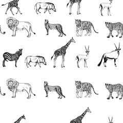 Seamless pattern of hand drawn sketch style animals. Vector illustration isolated on white background.