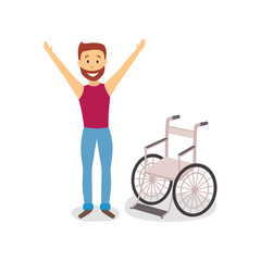 vector flat bearded adult man raising hands standing near wheelchair. concept of rehabilitation, physical cure and trauma recovery. isolated illustration on a white background.