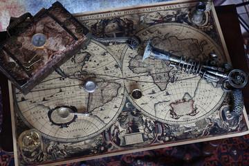 Steampunk mappa giro del mondo