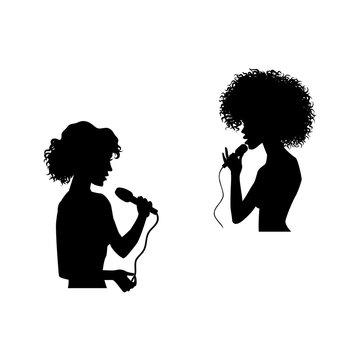 vector woman portrait - caucasian and afro american silhouettes singing with microphone set. Isolated illustration on white background. Karaoke club design logo elements