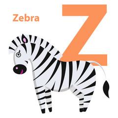Orange Character Z Word Zebra on Alphabet Card