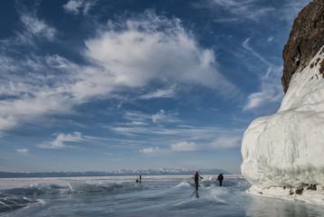 people walk on the ice