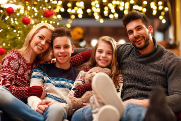 portrait of smiling family on Christmas holiday.