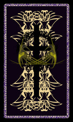 Tarot cards - back design. Byzantine cross