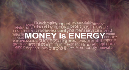 Money IS energy Word Cloud - a warm flowing energy formation background with a MONEY IS ENERGY word cloud