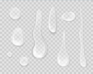Rain Drops Isolated on Transparent Background.