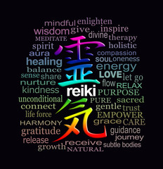 Reiki Words of Wisdom - a rainbow coloured Reiki Kanji Symbol surrounded by a relevant muted colour word cloud on a black background