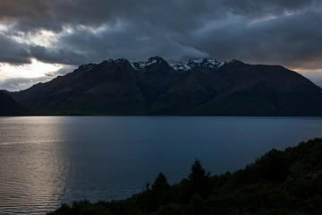 Lake wakatipu sunset New Zealand