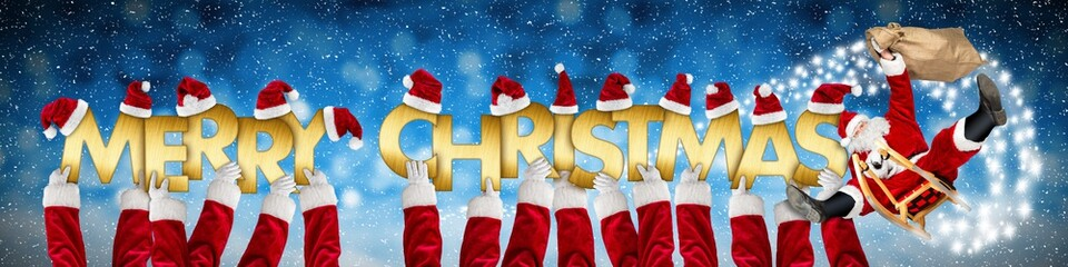merry christmas xmas greeting crazy funny santa claus on sleigh and costume arms holding up golen letters on blue snow panorama background