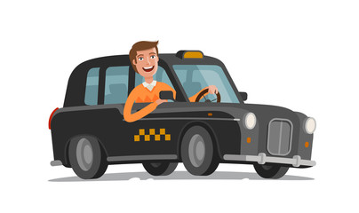 Happy driver is driving taxi. Passenger transportation, car, vehicle concept. Cartoon vector illustration