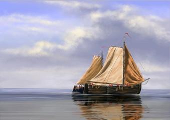 Sea oil paintings landscape, digital art, fine art