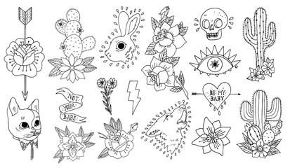 Set of roses, cactus and other patches elements. Set of stickers, pins, patches and handwritten notes collection in cartoon 80s-90s comic style.Vector stikers kit