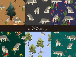 Set seamless wolf and wood pattern isolated on background. Vector illustration