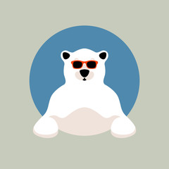 polar bear face in glasses vector illustration flat