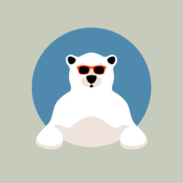 polar bear face in glasses vector illustration flat