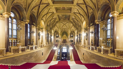 Panorama of the interior of the Parliament of Budapest, Hungary