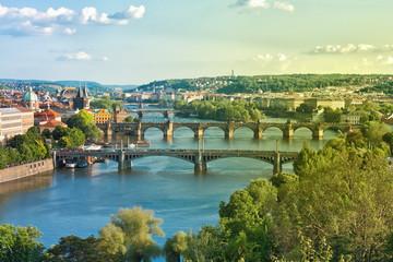 Wall Murals Prague Prague Bridges and Vltava River in the Summer. Czech Republic.