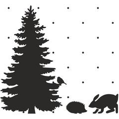 Новогодняя ель Рождественская сцена Заяц, еж, снегирь