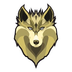 wolfs head low poly geometric polygonal flat design style logo element and company mascot modern vector illustration