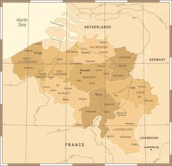 Belgium Map - Vintage Vector Illustration