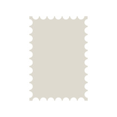 Postal stamp template. Blank postal stamp with perforation holes. Vector Illustration