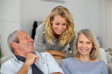 aged family having fun together
