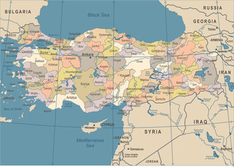 Turkey Map - Vintage Vector Illustration