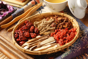 Different kind of Chinese herbal medicine in bamboo basket