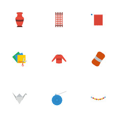 Flat Icons Pottery, Needlework, Wool And Other Vector Elements. Set Of Handmade Flat Icons Symbols Also Includes Sweater, Skein, Colorful Objects.