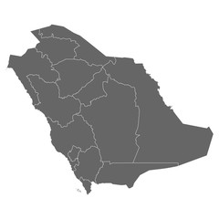 High quality map Saudi Arabia with borders of the regions