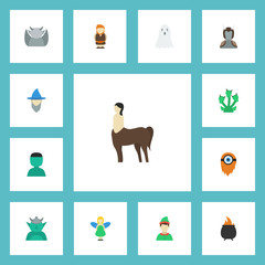 Flat Icons Fire, Avatar, Hell And Other Vector Elements. Set Of Cartoon Flat Icons Symbols Also Includes Orc, Cartoon, Goblin Objects.