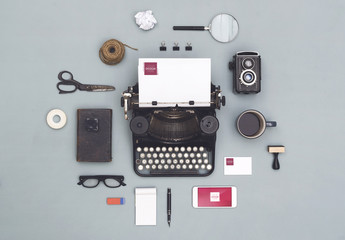 Vintage Typewriter with Smartphone, Stationery and Accessories Mockup