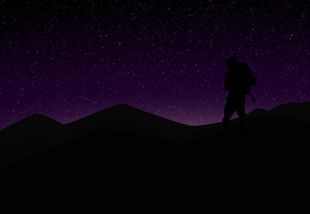 Silhouette of Mountaineer in front of Violet Starry Sky