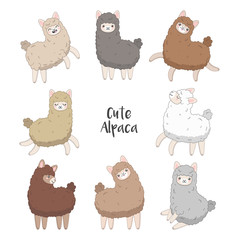 Cute llama and alpaca set. Cartoon character vector illustration. Funny smiling animals.