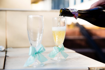 Wedding glasses with ribbons