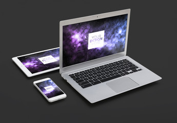 Laptop, Tablet and Smartphone on a Dark Background Mockup