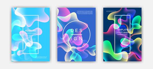 Fluid color covers set. Colorful bubble shapes with gradients. Trendy design.