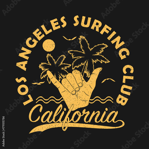 Los Angeles Surfing Club California Grunge Print For Apparel With Shaka