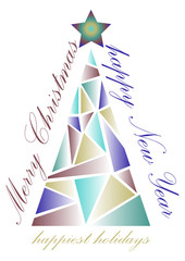 Creative greeting card for Christmas and New Year with a stylized triangular Christmas tree. Vector illustration.