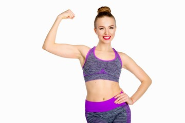 Younf woman fitness instructor isolated on white background