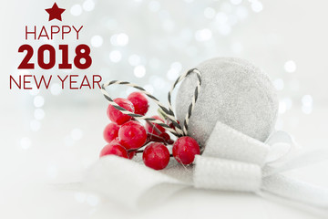 Happy new year 2018 background with christmas decoration