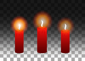 A set of red burning candles.Vector illustration. Eps 10.