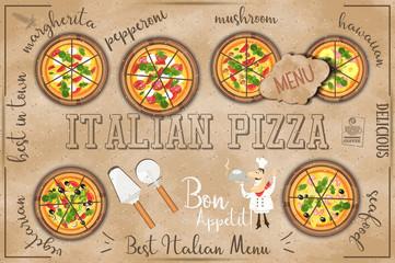 Pizza Menu in Kraft Style
