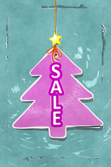 pink water color christmas tree tag sale