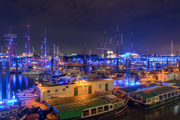 panorama of the harbor of Hamburg at night