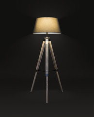Floor lamp for three wooden legs