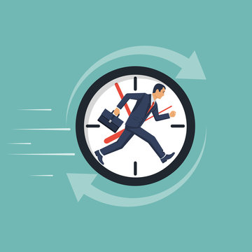 Businessman running away in clock. Control time. Vector illustration flat design. Isolated on background. Full time job. Human in suit tie with briefcase. Endless work. Concept business.