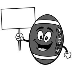 Football Mascot with Sign Illustration